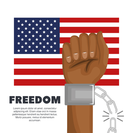 Afro american person fist being raised, broken chain and american flag over white background. Vector illustration. Illustration