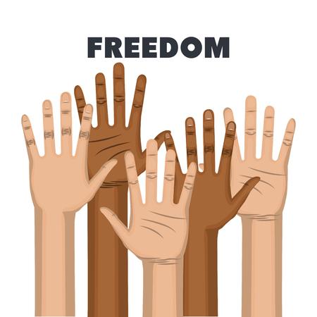 아프리카 계 미국인 및 백인 사람들이 손을 제기 하 고 흰색 배경 위에 인종 차별 자유에 서명하지 않습니다. 벡터 일러스트 레이 션.