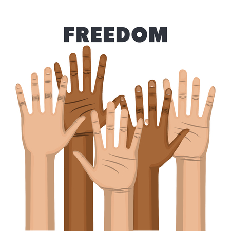 Afro american and caucasian people raised hands and say no to racism freedom sign over white background. Vector illustration.