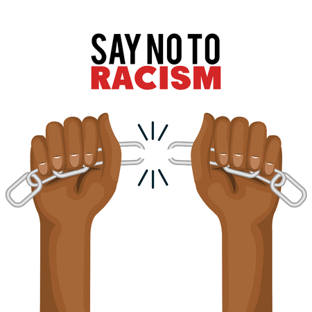 Afro american person hands breaking chain over white background. Vector illustration.