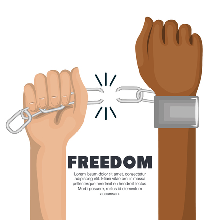 Caucasian person breaking a chain on afro american person wrist over white background. Vector illustration.