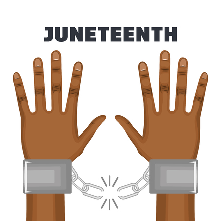 Afro american person hands with broken chain on wrists over white background. Vector illustration.
