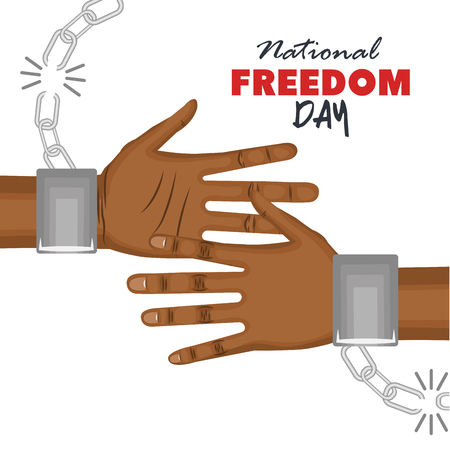 Afro american person hands with broken chain over white background. Vector illustration. Illustration