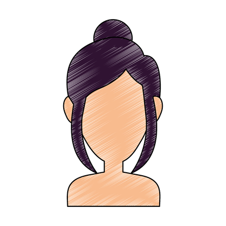Young woman profile icon vector illustration graphic design Illustration