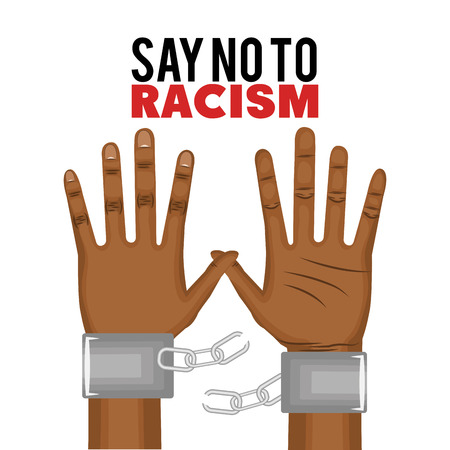 racism: Afro american person hands with broken chain over white background. Vector illustration. Illustration
