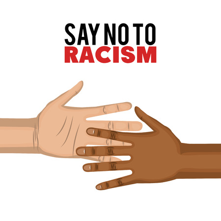 Afro american and caucasian people hands over white background. Vector illustration.