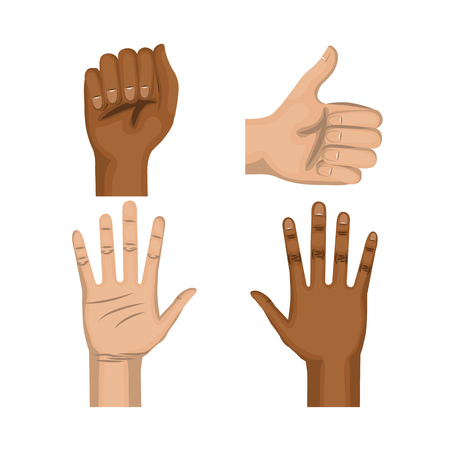 racism: Afro american and caucasian people raised hand, fist and thumb up over white background. Vector illustration.
