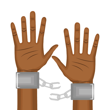 Afro american person hands with broken chain over white background. Vector illustration. Vettoriali