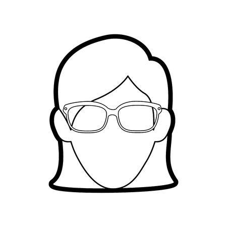 Young woman profile icon vector illustration graphic design Illustration