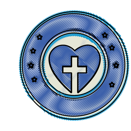 Cruz cristiana símbolo icono ilustración vectorial diseño gráfico Foto de archivo - 78178461