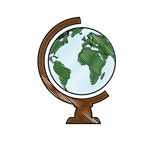 Escuela de icono de globo del mundo de la ilustración vectorial de diseño gráfico Vectores