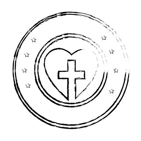 Christelijk kruis symbool pictogram vector illustratie grafisch ontwerp Stock Illustratie