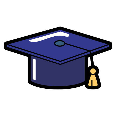 graduation cap icon over white background. colorful design. vector illustration 向量圖像