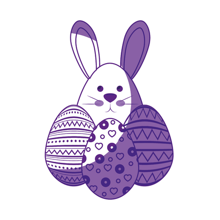 cute bunny and  icon over white background. vector illustration