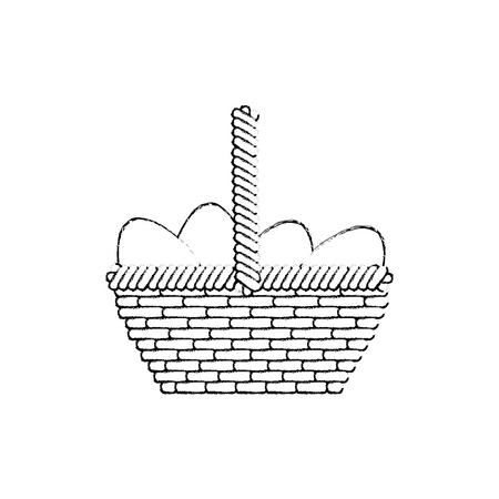 basket with easter eggs icon over white background. vector illustration Illustration