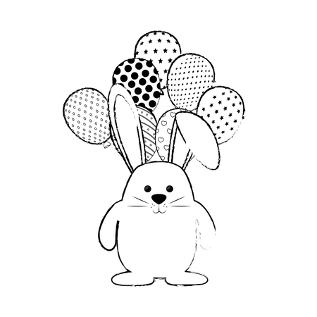 cute bunny holding a balloons icon over white background. vector illustration Illustration