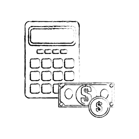 money and calculator device icon over white background. vector illustration