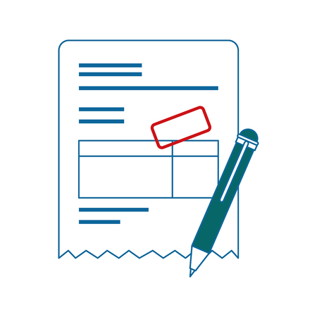 bill page and pen icon over white background. vector illustration