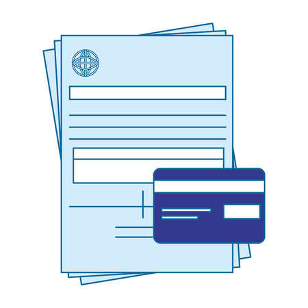 bill page and credit card icon over white background. vector illustration