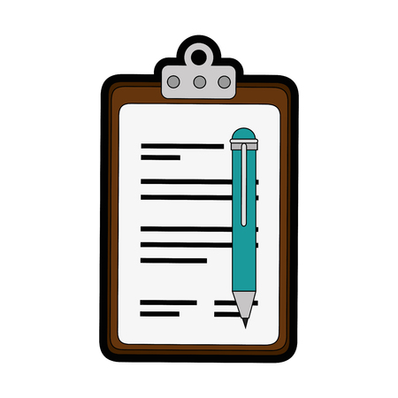 report table and pen icon over white background. vector illustration Ilustração