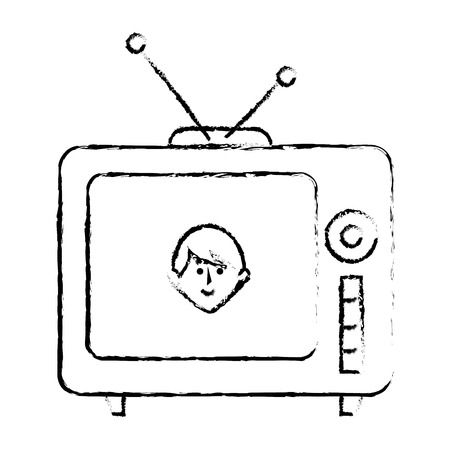 old tv retro icon vector illustration design Illustration