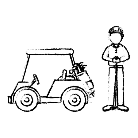 golf car with driver isolated icon vector illustration design Ilustração