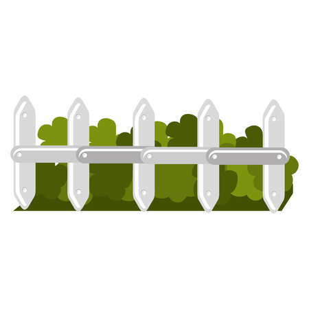 fence park with bush isolated icon vector illustration design Illusztráció