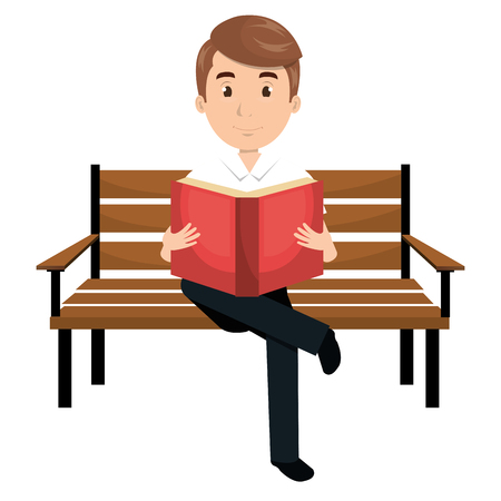 man reading book in park chair vector illustration design