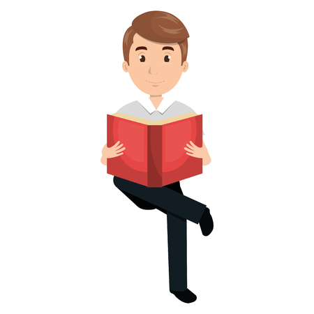 man reading textbook character vector illustration design Ilustrace