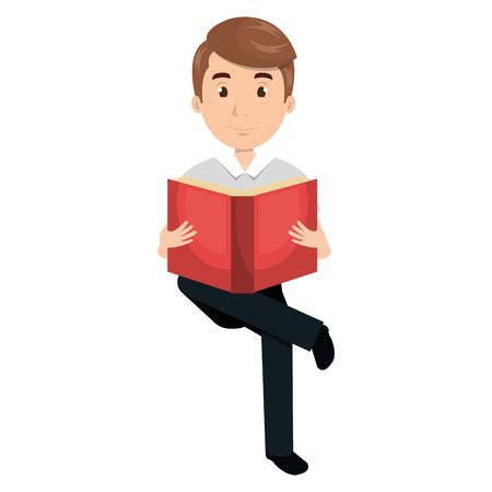 man reading textbook character vector illustration design Illustration