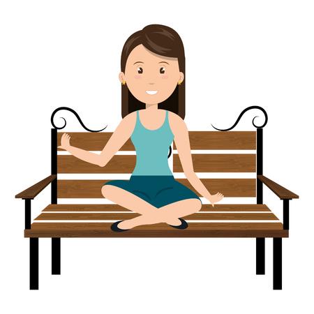 Woman sitting on park chair vector illustration design