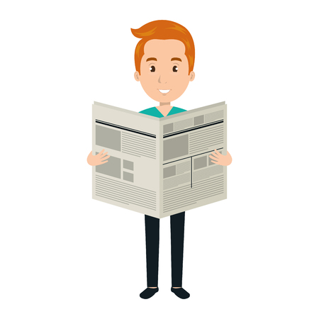 young man reading newspaper avatar character vector illustration design Vektorové ilustrace