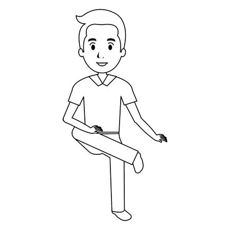 young man avatar sitting character vector illustration design Ilustração