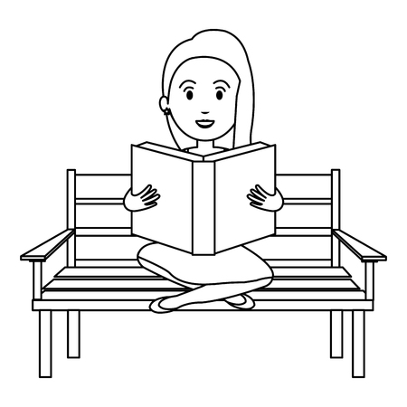 woman reading book in park chair vector illustration design