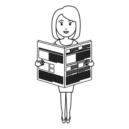 Jeune femme lisant le livre avatar avatar conception illustration vectorielle Banque d'images - 78236358