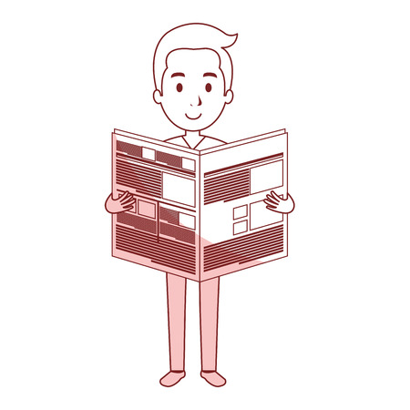young man reading newspaper avatar character vector illustration design Illustration