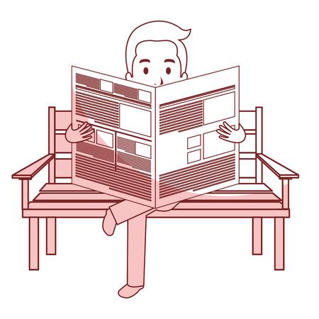 tabloid: man reading newspaper in the park chair vector illustration design Illustration
