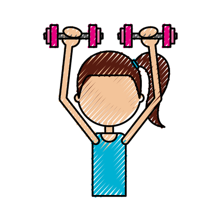 cartoon girl doing exercise with dumbells vector illustration Stock Vector - 78240186