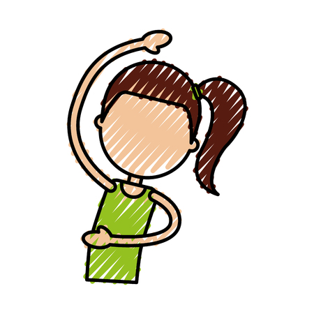 woman doing stretching up vector illustration Imagens - 78240307