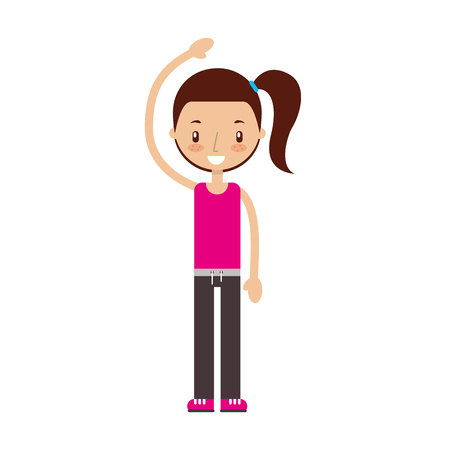 Fitness girl exercising isolated icon vector illustration