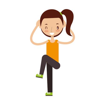 gym equipment: Fitness girl exercising isolated icon vector illustration