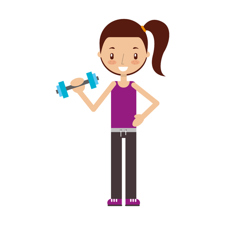 cartoon girl doing exercise with dumbells vector illustration Stock Vector - 78242709