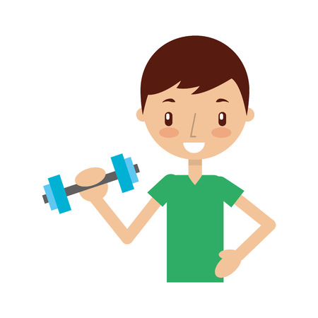boy exercising with dumbells vector illustration graphic design Stock Vector - 78242702