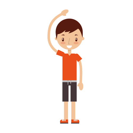 isolated fitness boy exercising icon vector illustration