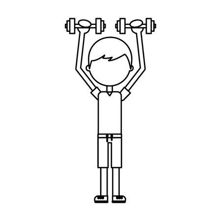 boy exercising with dumbells vector illustration graphic design Illustration