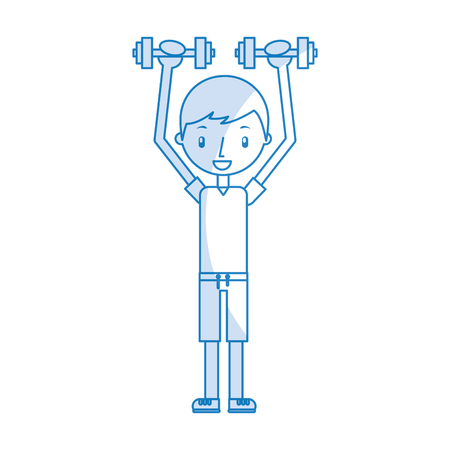boy exercising with dumbells vector illustration graphic design Stock Vector - 78256592