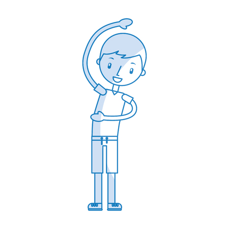 cartoon boy stretching up vector illustration graphic design