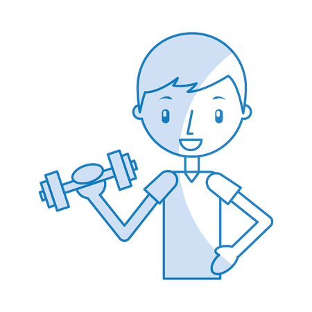 boy exercising with dumbells vector illustration graphic design Stock Vector - 78256602
