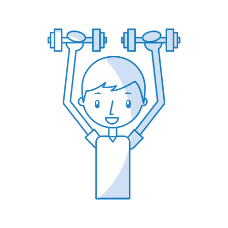 boy exercising with dumbells vector illustration graphic design Stock Vector - 78256603