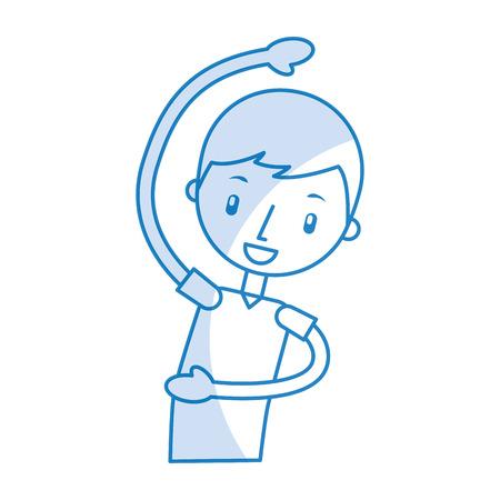 cartoon boy stretching up vector illustration graphic design